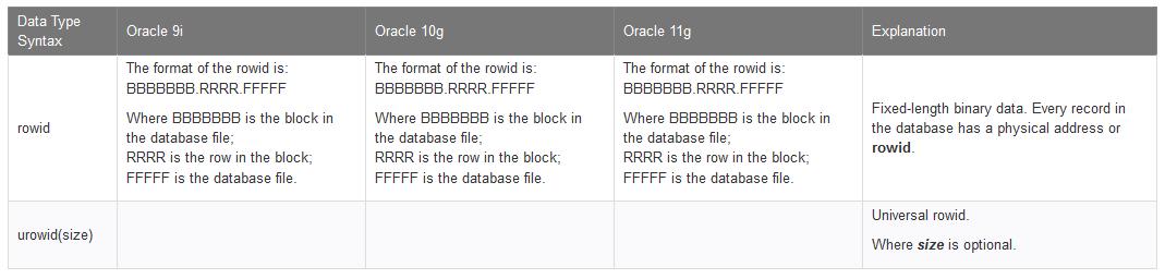 Rowid Datatypes